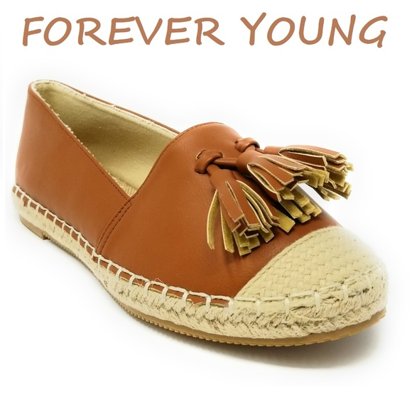 Forever Young Shoes - Women Espadrille Flats with Tassels, E-2605, Camel